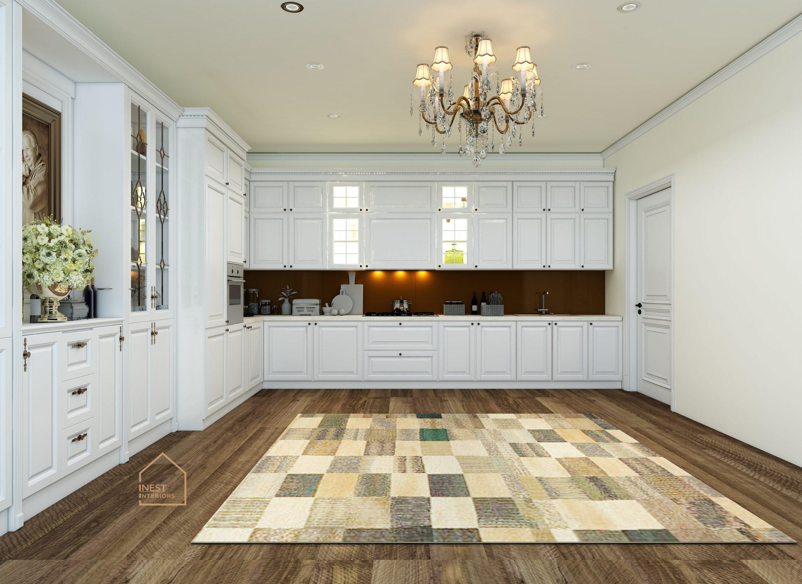 Nội thất tủ bếp màu trắng Tân cổ điển