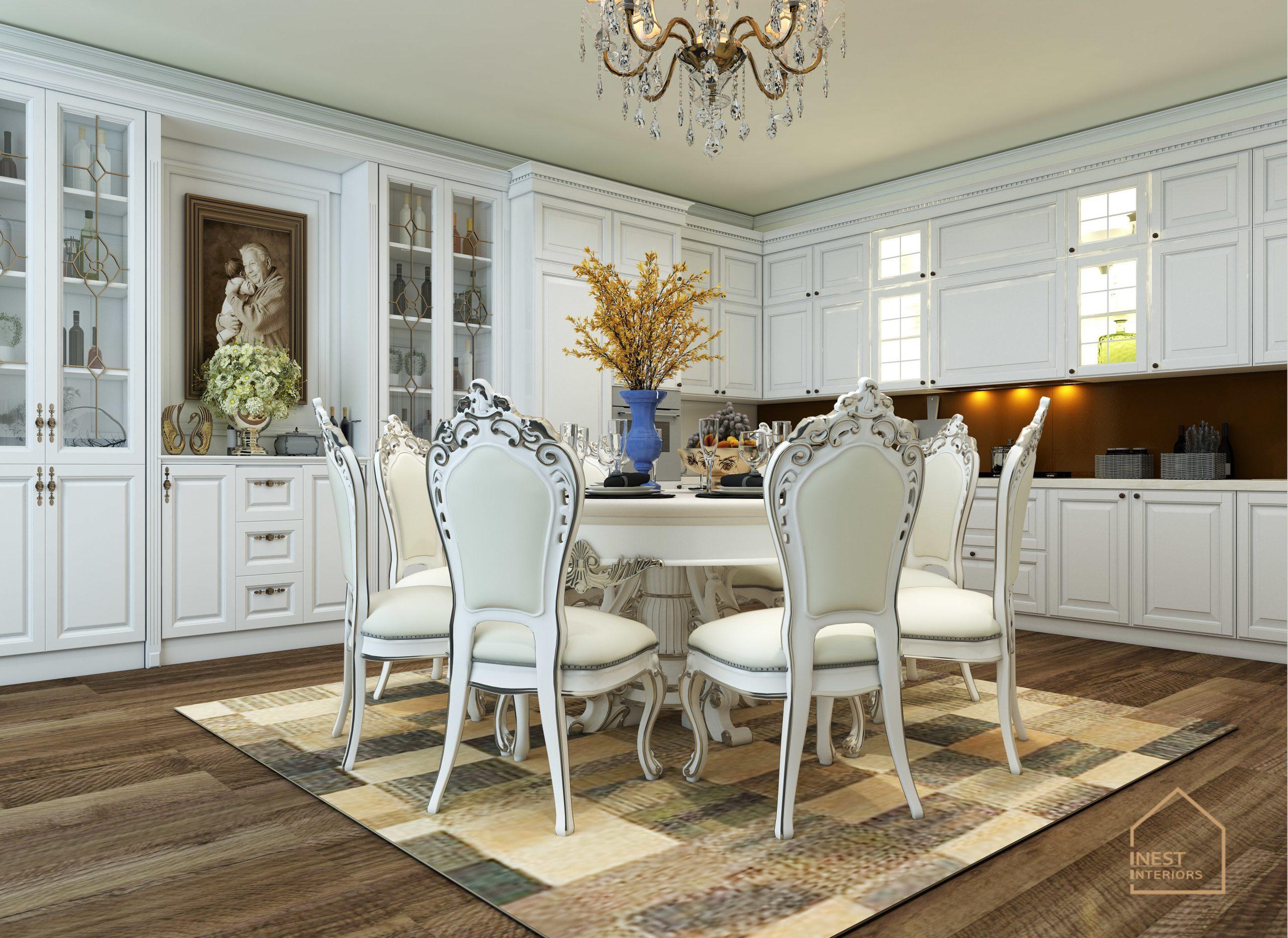 Nội thất bàn ăn màu trắng Tân cổ điển