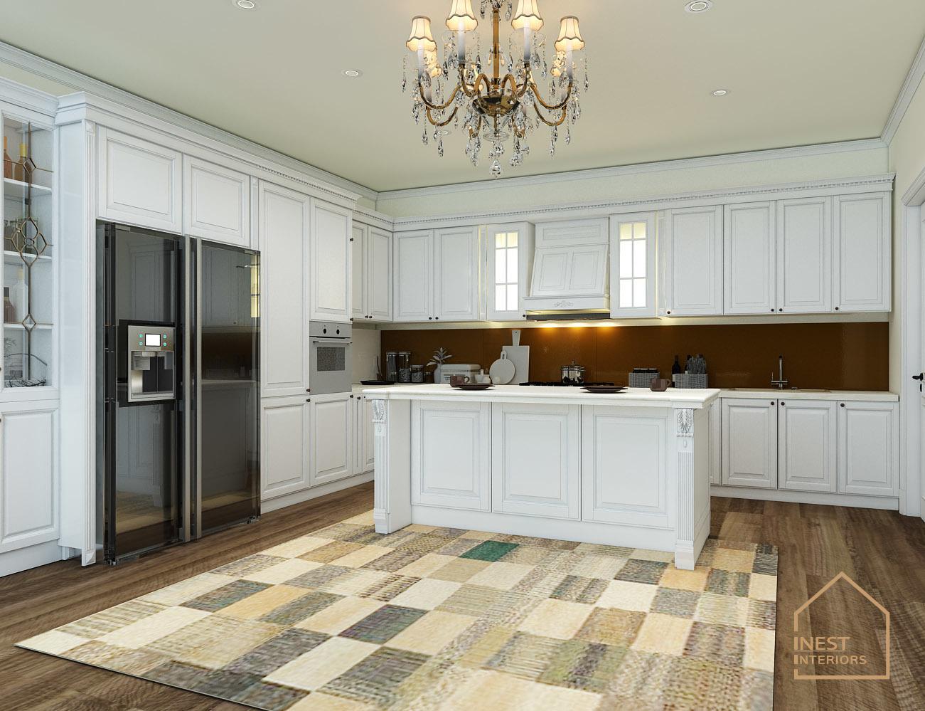 Thiết kế nội thất phòng bếp màu trắng