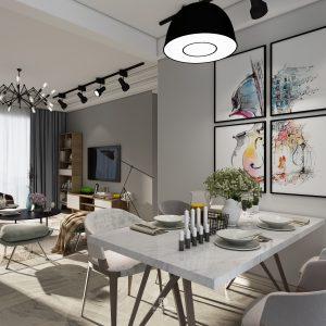 Nội thất chung cư cao cấp với tông màu trắng xám nam tính