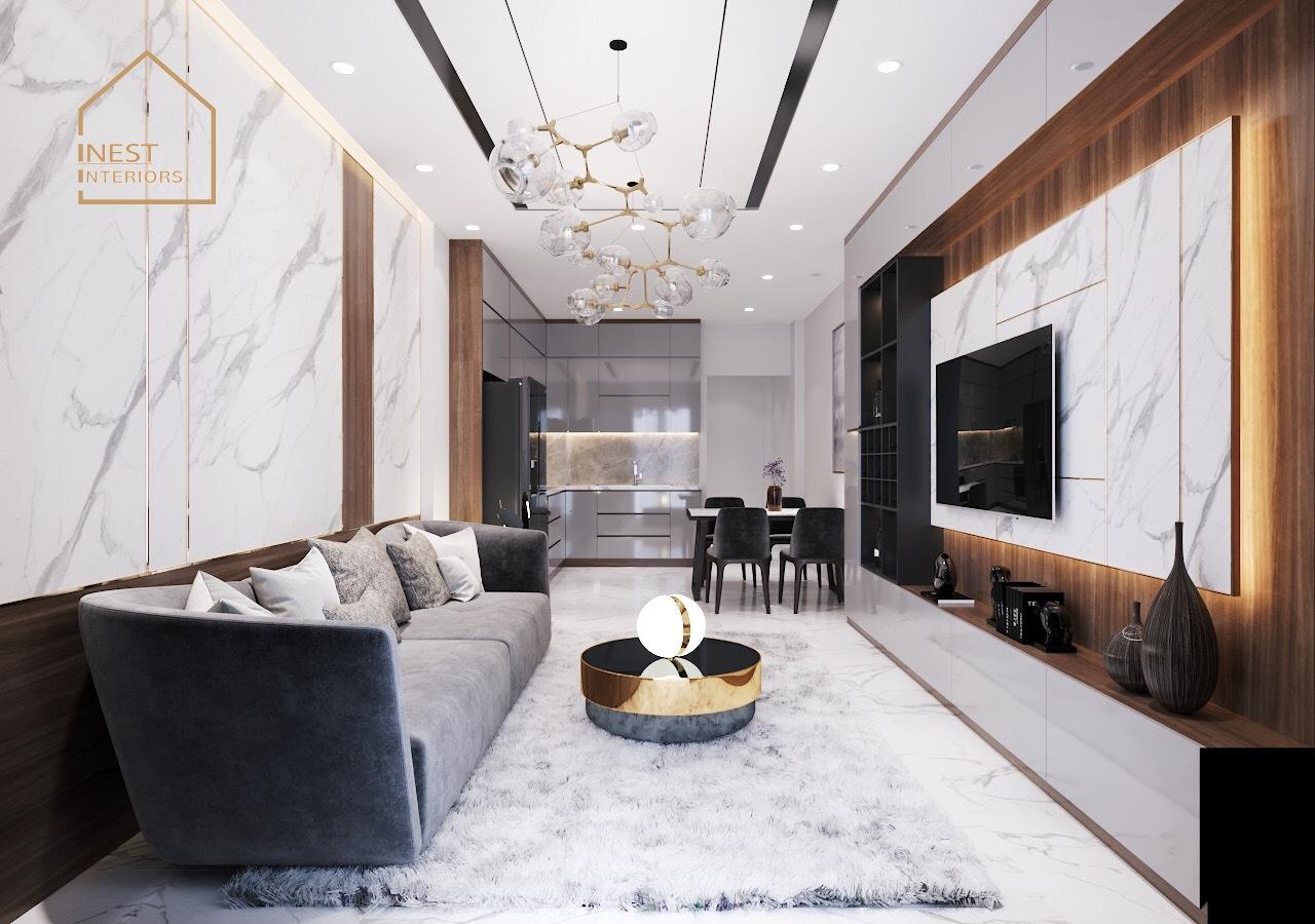 Sử dụng các chất liệu đa dạng trong thiết kế nội thất chung cư 2 phòng ngủ