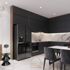 Nội thất phòng bếp màu đen sang trọng!