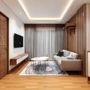 Khu vực phòng khách được thiết kế tối giản