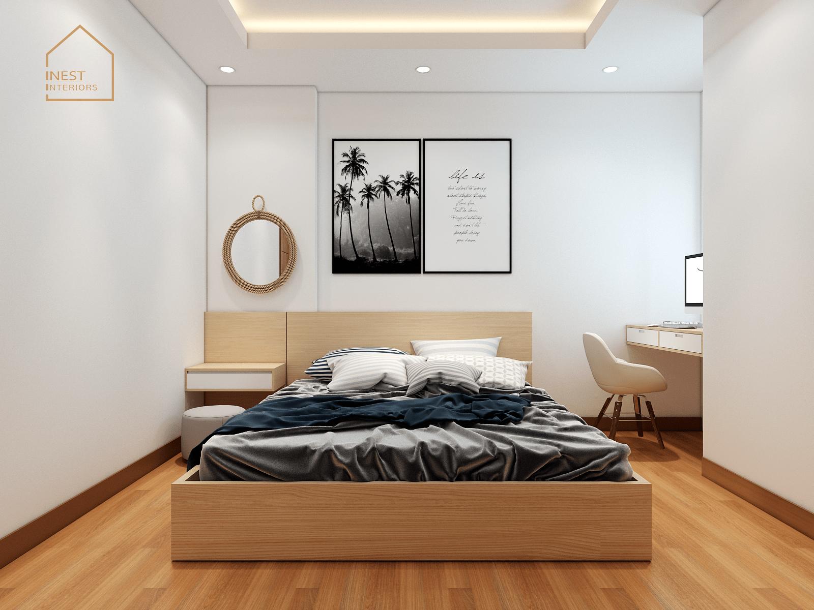 Phòng ngủ chính với đầy đủ nội thất