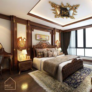Gam màu đặc trưng của phong cách Tân cổ điển được sử dụng cho phòng ngủ