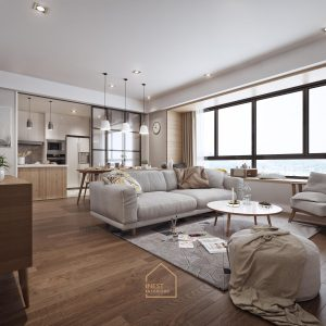 Không gian phòng khách căn hộ theo phong cách thiết kế Bắc Âu