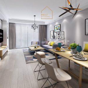 Không gian sinh hoạt chung của căn hộ theo phong cách thiết kế hiện đại